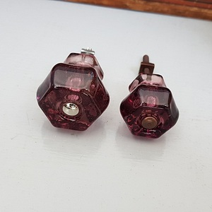 Glass Hexagon Knobs (Purple)