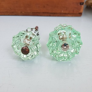 Glass Fluted Knobs (Clear Green)