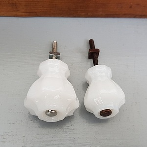 Glass Fluted Knobs (White)