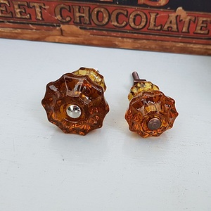 Glass Fluted Knobs (Amber)