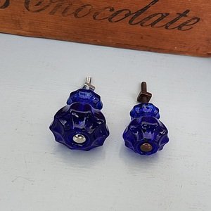 Glass Fluted Knobs (Dark Blue)