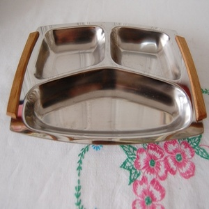 VINTAGE STAINLESS WOOD TRAY