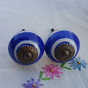Hand Painted Ceramic knob-blue stripe