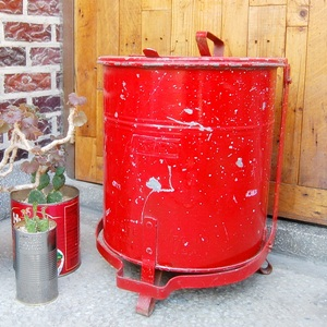 Vintage Red Trash Can #AM